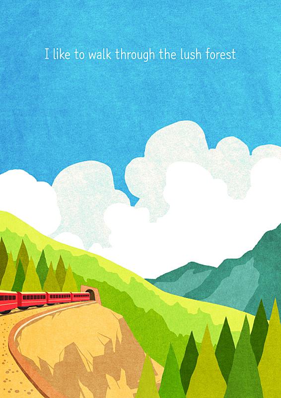 风景插画,自然,季节,风景,春天,铁轨轨道,植物,背景,悬崖,树