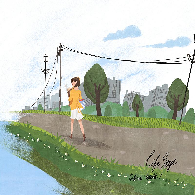 生活方式,绘画插图,自然,乡村,人,风景,女性,摩天大楼,路灯,青年人