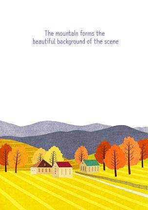 风景插画,插图画法,房屋,绘画插图,草原,自然,季节,秋天,风景,植物