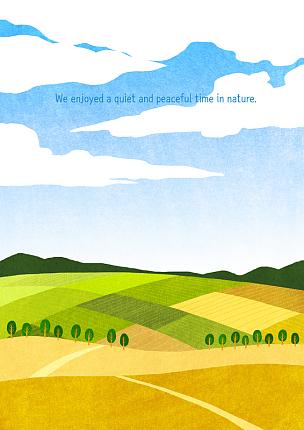 风景插画,风景,绘画插图,插图画法,自然,季节,菜园,草原,秋天,植物