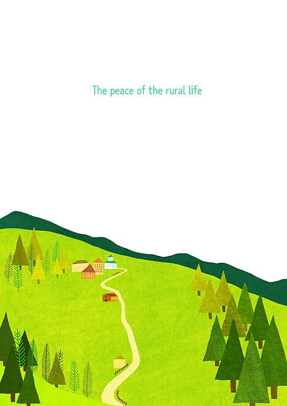 风景插画,自然,季节,草原,房屋,风景,春天,植物,背景,通路