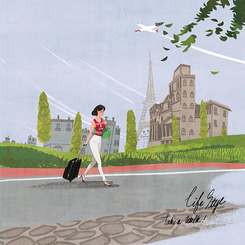 生活方式,绘画插图,欧洲,自然,乡村,人,手提箱,风景,女性,摩天大楼
