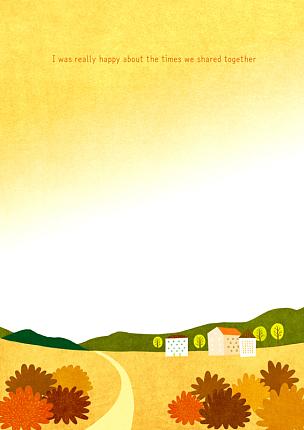 风景插画,自然,季节,草原,秋天,房屋,风景,植物,背景,树