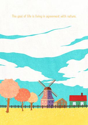 风景插画,自然,季节,草原,秋天,风景,春天,植物,背景,树