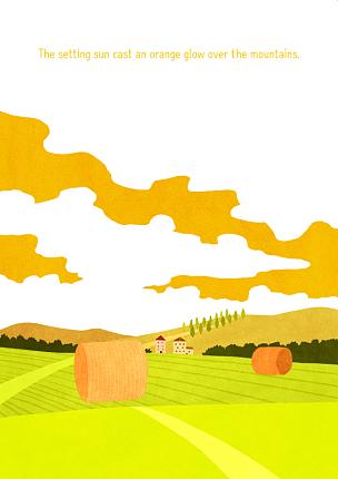 风景插画,农业,自然,季节,菜园,草原,秋天,风景,植物,背景