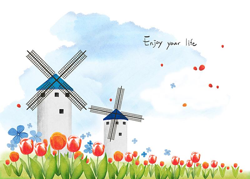 绘画插图,四季,荷兰,插图画法,季节,房屋,风景,郁金香,著名景点,花