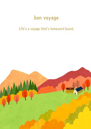 风景插画,房屋,绘画插图,插图画法,自然,季节,草原,秋天,风景,植物