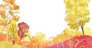 季节,风景插画,插图画法,森林,山,自然,秋天,植物,背景,风景