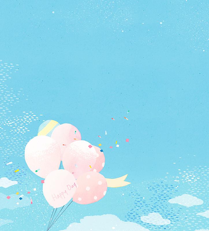 背景,水彩画,事件,气球,季节,水彩画颜料,植物,天空,绘画插图,花