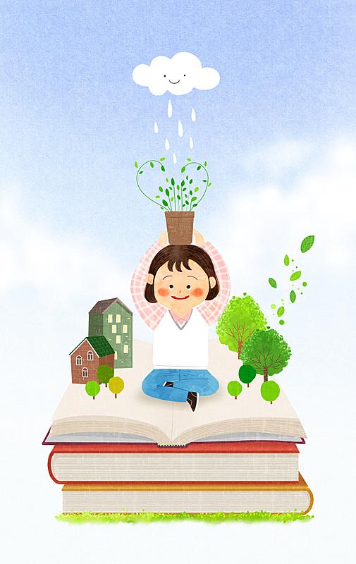 儿童,绘画插图,书,小学,背景,天空,柔和色,插图画法,教育,树