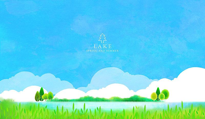 风景,自然,背景,天空,绘画插图,湖,草原,插图画法,生活方式,海洋