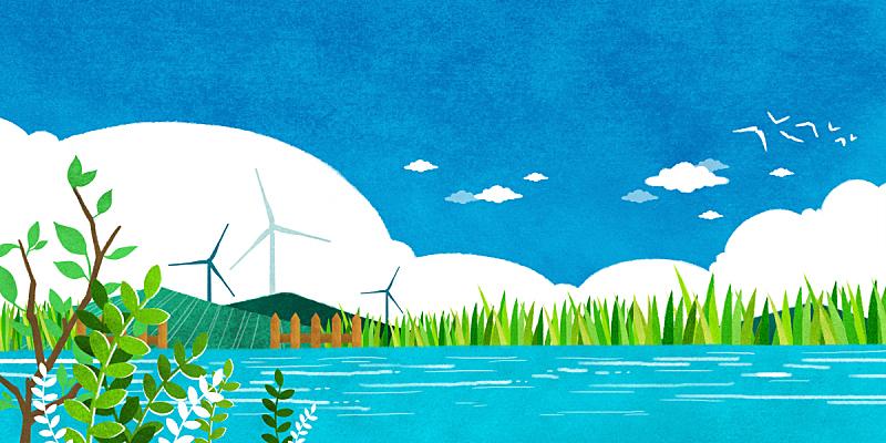 春天,背景,地形,插图画法,房屋,河流,季节,风景,植物,树