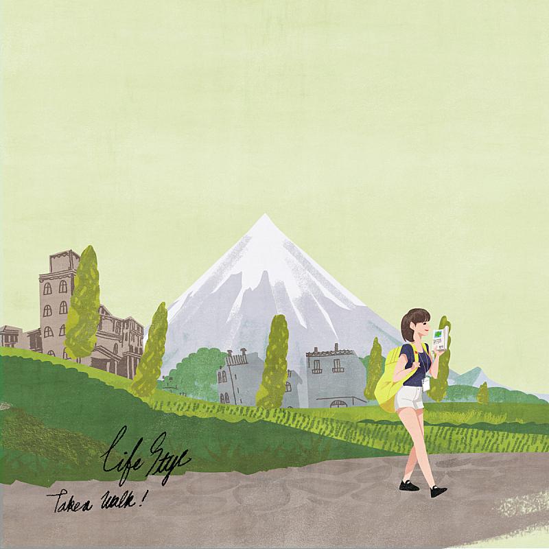 生活方式,绘画插图,插图画法,路,自然,乡村,人,风景,女性,青年人