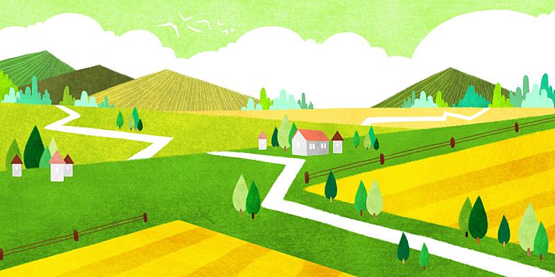 背景,春天,地形,绘画插图,插图画法,草原,风景,季节,植物,通路