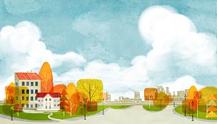 风景插画,秋天,自然,乡村,季节,风景,植物,背景,通路,树