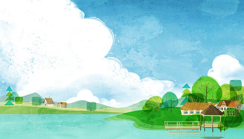 风景插画,乡村,插图画法,河流,绘画插图,夏天,风景,背景,自然,季节