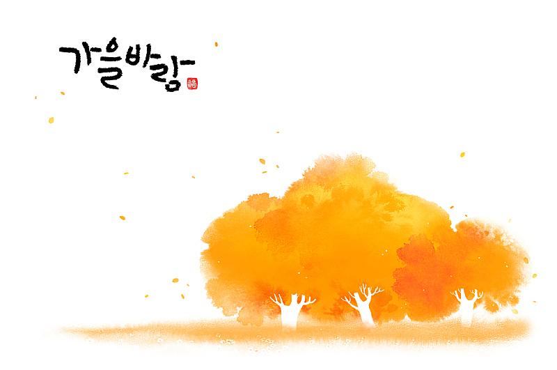 秋天,背景,枫树,笔触,森林,季节,植物,风,绘画插图,树