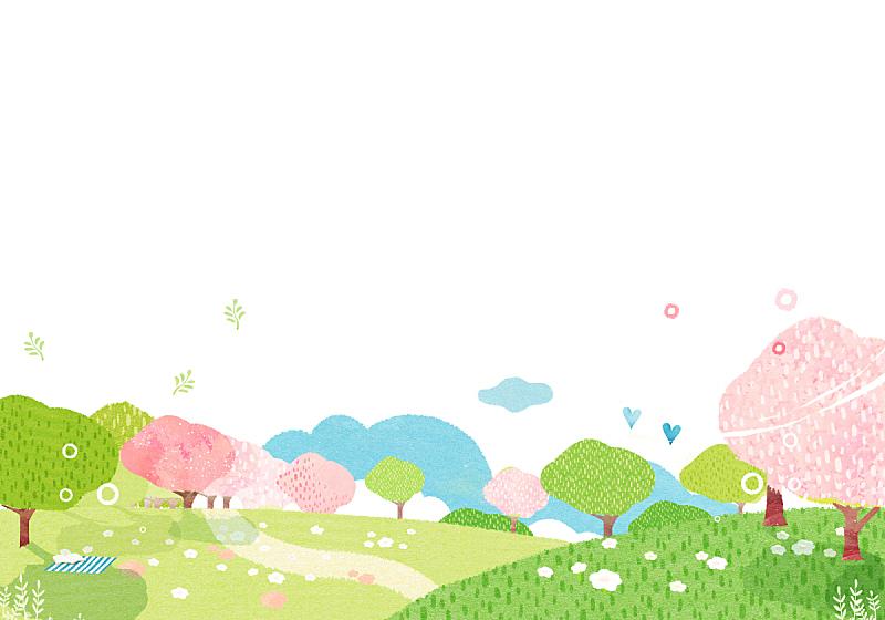 春天,背景,水彩画,插图画法,绘画插图,水彩画颜料,自然,季节,草原,风景