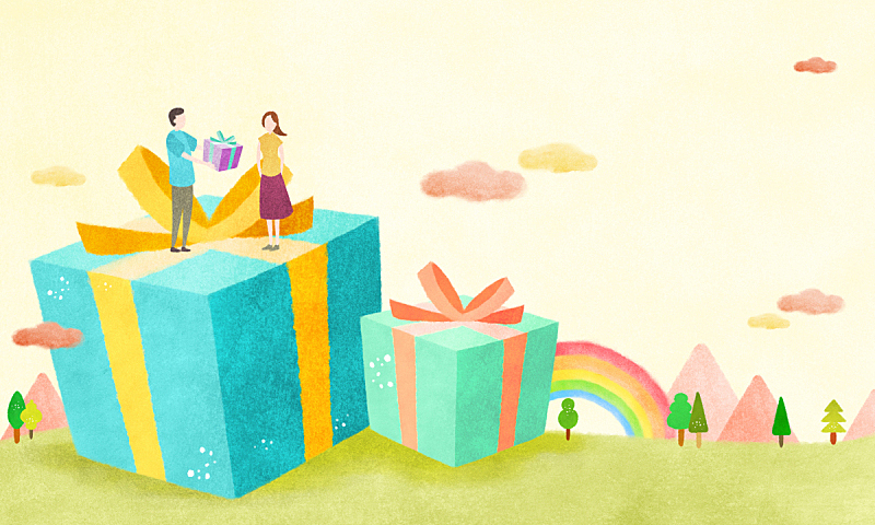 绘画插图,蜡笔画,彩色图片,人,情感,草原,植物,背景,彩虹,树