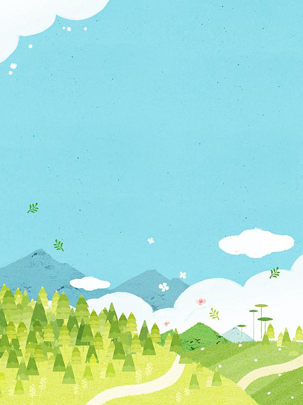 春天,背景,水彩画,插图画法,山,自然,季节,水彩画颜料,风景,柔和色