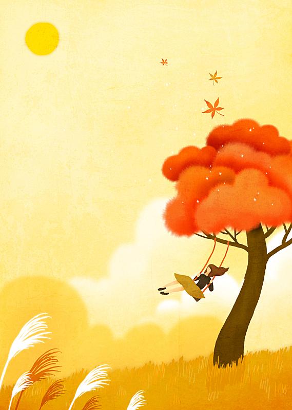 童话故事,背景,秋天,插图画法,绘画插图,枫树,女性,创造力,想象,树