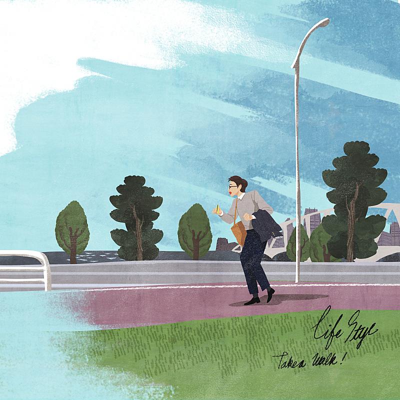 生活方式,绘画插图,自然,商务,乡村,人,男商人,风景,公园,路灯