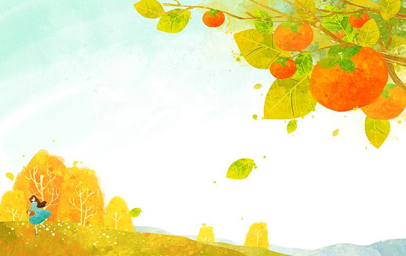 四季,绘画插图,插图画法,秋天,自然,季节,植物,背景,风景,树