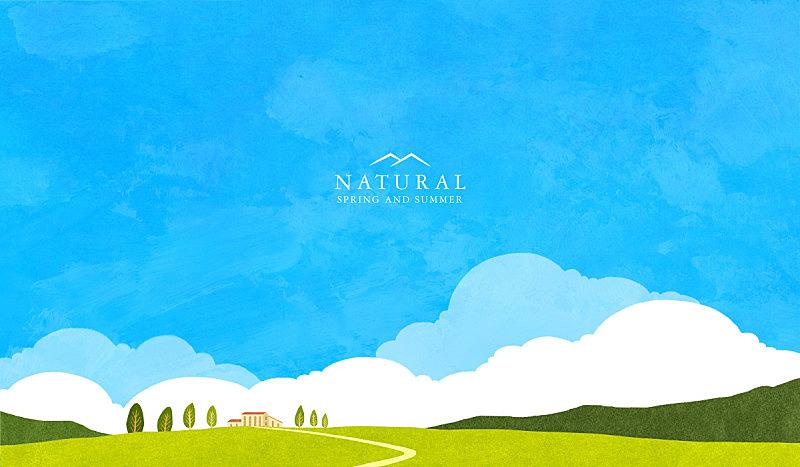 绘画插图,自然,风景,背景,天空,插图画法,房屋,生活方式,无人,通路