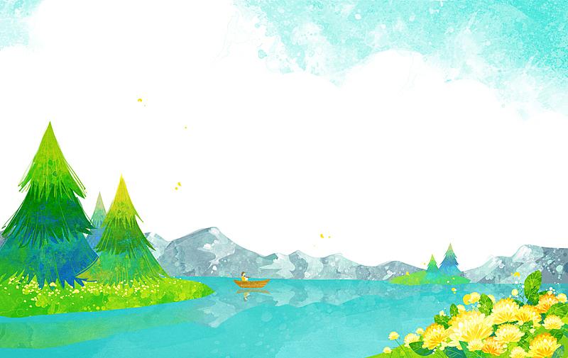 四季,绘画插图,插图画法,风景,湖,自然,季节,草原,春天,花