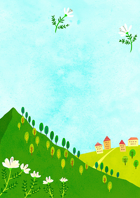 春天,季节,草原,植物,背景,天空,绘画插图,山,花,树