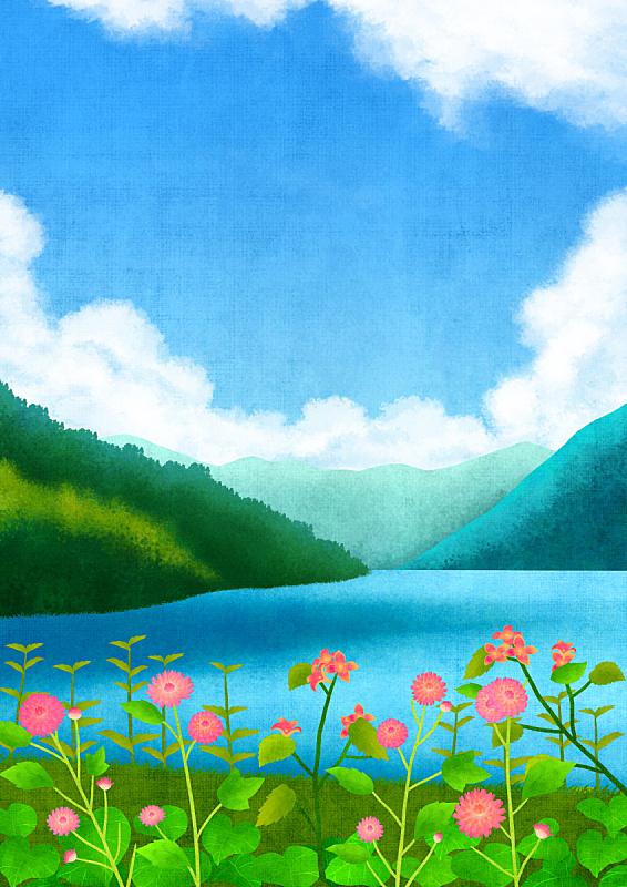 自然,背景,植物,河流,风景,天空,绘画插图,花坛,春天,花