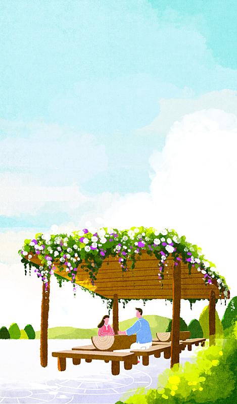 人,春天,背景,清单,风景,绘画插图,插图画法,自然,季节,生活方式
