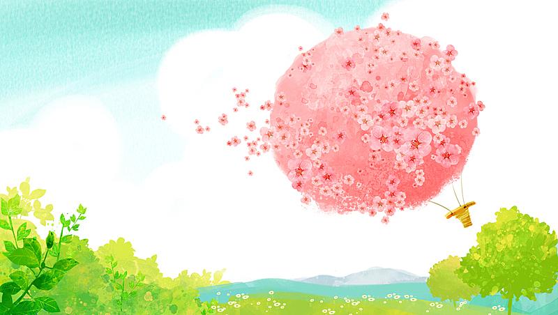 背景,地形,自然,草原,图像,草,热气球,春天,植物,花