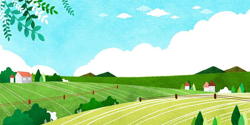 春天,背景,地形,插图画法,草原,绘画插图,季节,植物,风景,树