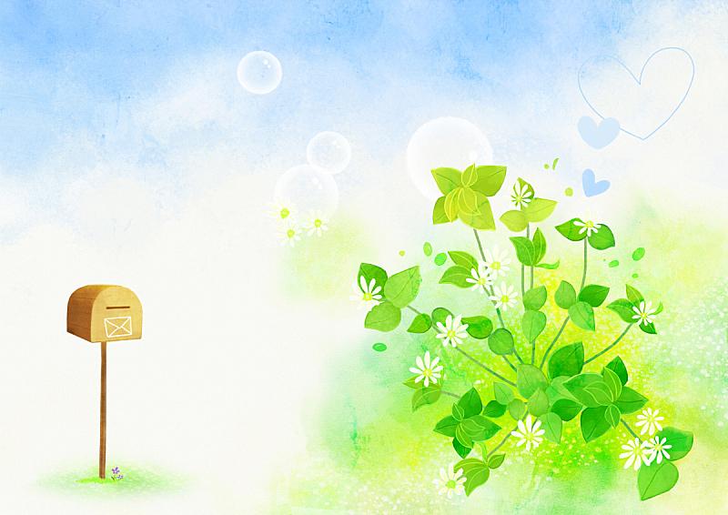 背景,绘画插图,自然,吹泡泡,植物,夏天,天空,草,叶子,花
