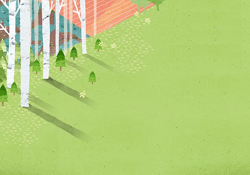 春天,背景,水彩画,草原,绘画插图,插图画法,自然,季节,水彩画颜料,风景