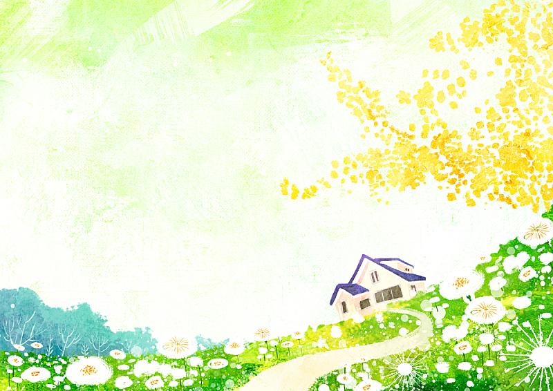 绘画插图,春天,自然,草原,房屋,风景,草,田地,花