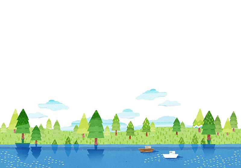 春天,背景,水彩画,水彩画颜料,湖,风景,插图画法,自然,季节,公园