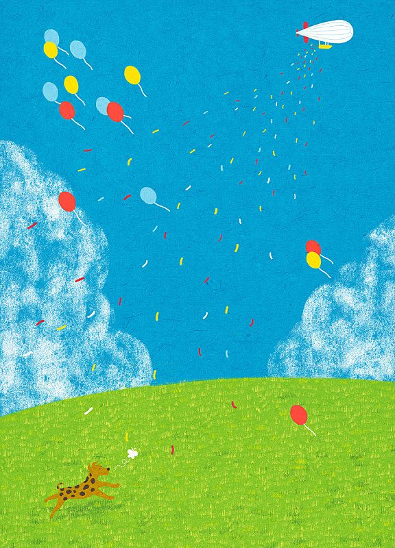 季节,春天,概念,地形,狗,热气球,开垦地,草坪,飞艇,草原