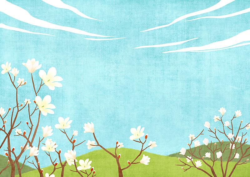 背景,季节,绘画插图,插图画法,自然,风景,草,柔和色,春天,花