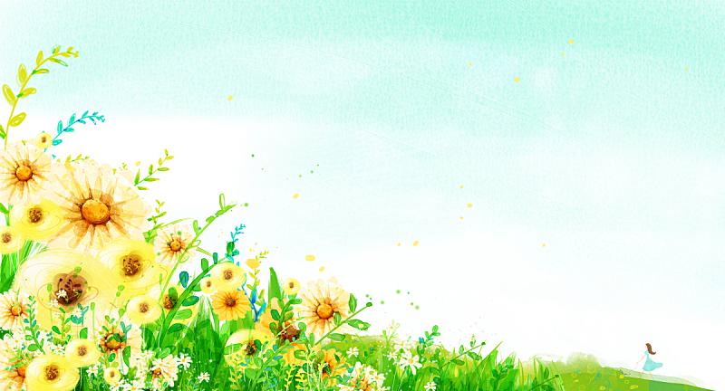 背景,地形,自然,草原,植物,图像,绘画插图,天空,花坛,花