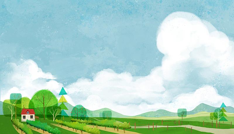 风景插画,菜园,自然,草原,植物,背景,风景,天空,绘画插图,树