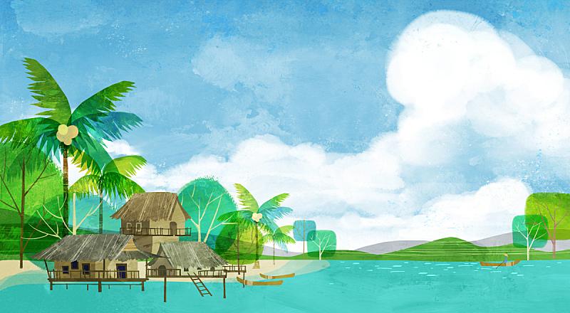 风景插画,棕榈树,插图画法,绘画插图,自然,高跷屋,风景,海洋,植物,背景
