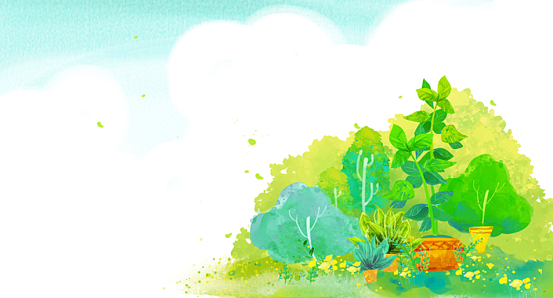 背景,地形,自然,草原,植物,图像,绘画插图,天空,花,树