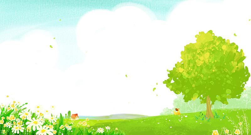 背景,地形,绘画插图,春天,插图画法,自然,草原,植物,花,树