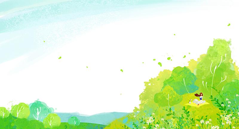 背景,地形,插图画法,春天,绘画插图,草,自然,人,草原,女性