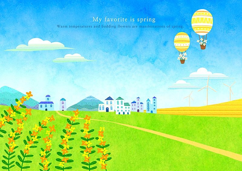 春天,绘画插图,自然,季节,草原,风景,热气球,植物,背景,花
