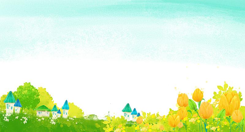 背景,地形,自然,草原,房屋,植物,图像,绘画插图,天空,花