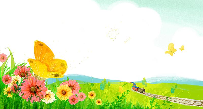 背景,地形,自然,铁轨轨道,草原,植物,图像,绘画插图,天空,花