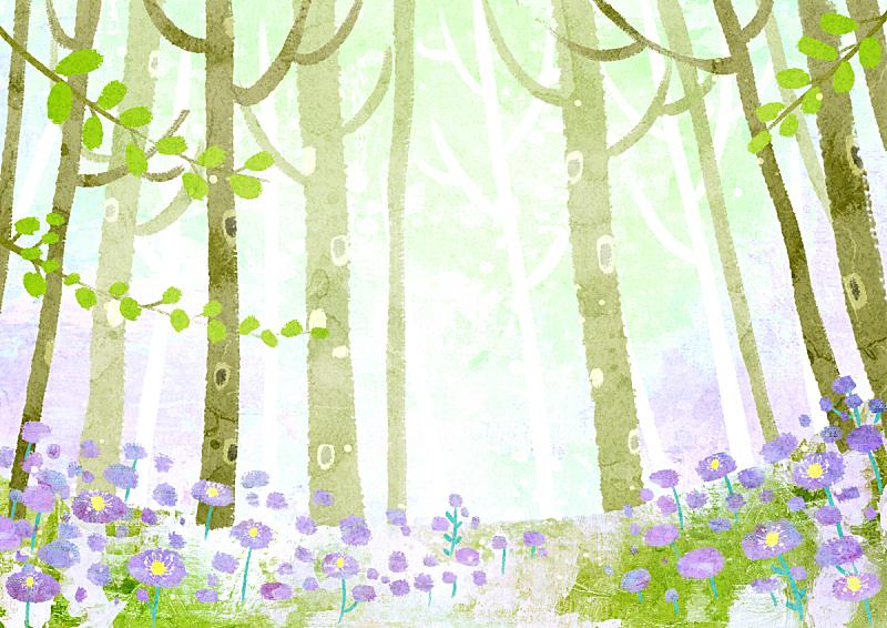 绘画插图,春天,自然,风景,草,植物,背景,花,树